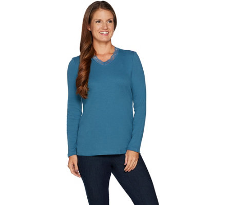 """As Is"" Denim & Co. Essentials Rib Knit Long Sleeve Top w/ Lace Trim"