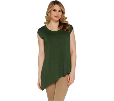 Lisa Rinna Collection Slub Knit Tee with Asymmetric Hem