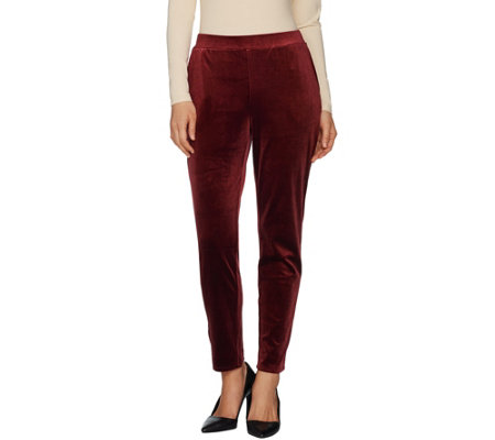 """As Is"" Dennis Basso Stretch Velvet Pull-On Pants"