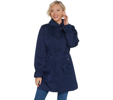 Dennis Basso Water Resistant Anorak Jacket with Ruching Details