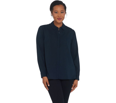 Elizabeth & Clarke Button-Front Long-Sleeve Top with StainTech