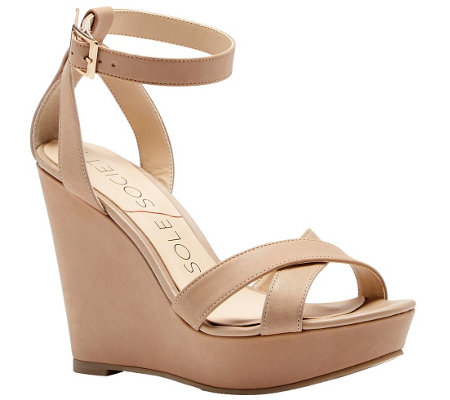 Sole Society Leather or Suede Strappy Wedge - Colette