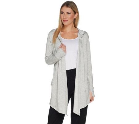 """As Is"" Cuddl Duds Ultra Soft Comfort Drape Front Hooded Cardigan"