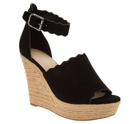 """As Is"" Marc Fisher Suede Ankle Strap Espadrille Wedge-Haya"