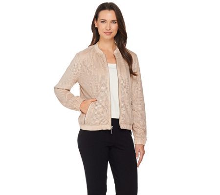 """As Is"" H by Halston Perforated Faux Suede Bomber Jacket"