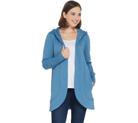 Isaac Mizrahi Live! SOHO Plushed Back Open Front Cocoon Hoodie