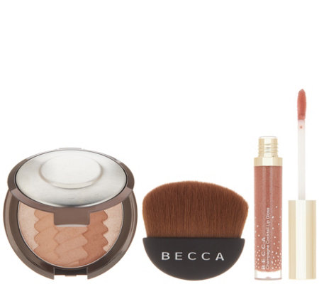 BECCA Gradient Sunlit Bronzer with Lip Gloss and Brush