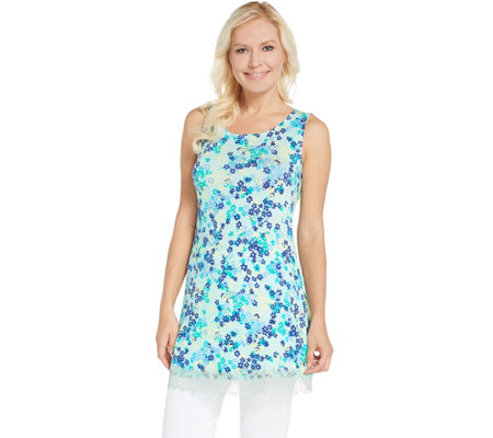 As Is Logo Layers By Lori Goldstein Printed Knit Tank With Lace