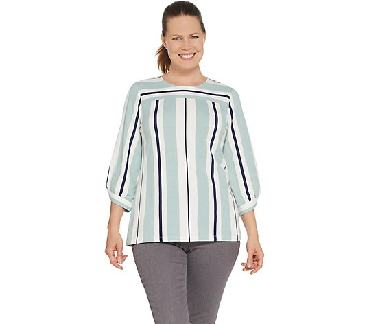 Studio by Denim & Co. Striped 3/4-Sleeve A-Line Top