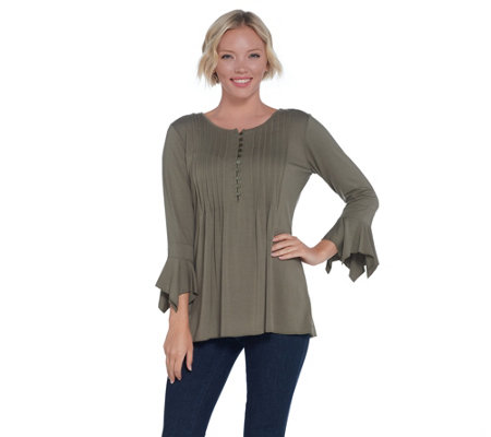 """As Is"" Laurie Felt Knit Ruffle Sleeve Henley Top"