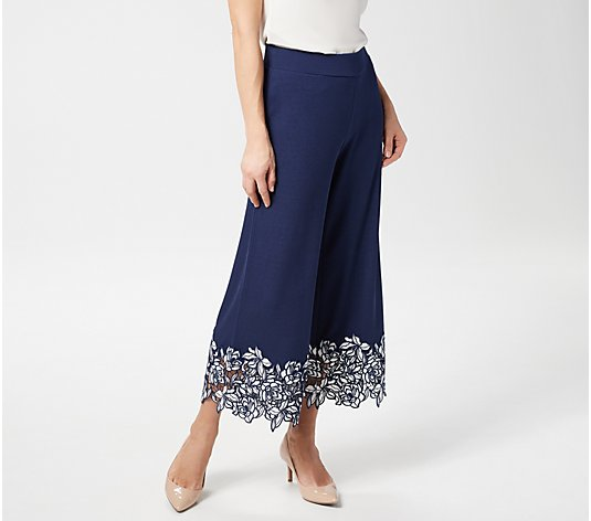 Isaac Mizrahi Live! Petite Pebble Knit Culottes with Lace Trim