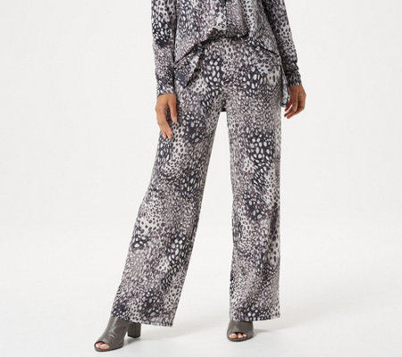 H by Halston Petite Jet Set Jersey Animal Printed Pull-On Wide-Leg Pants