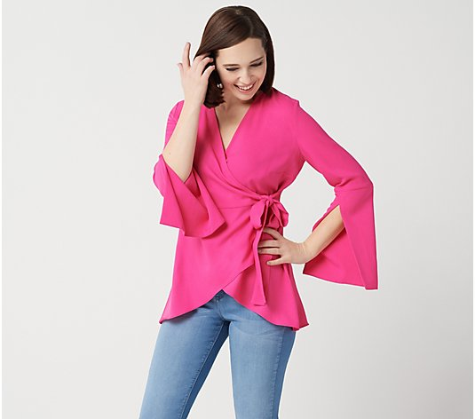"""As Is"" Laurie Felt Woven Wrap Blouse with Sleeve Detail"