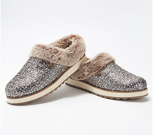 Skechers BOBS Knit Faux Fur Rose Gold Clog Slippers- Keepsakes 2.0