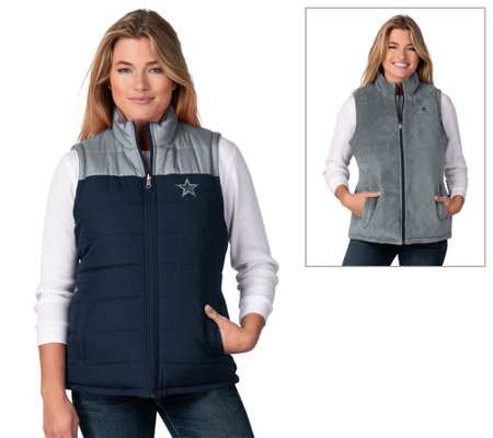 NFL Dallas Women's Micro Mink Reversible Vest