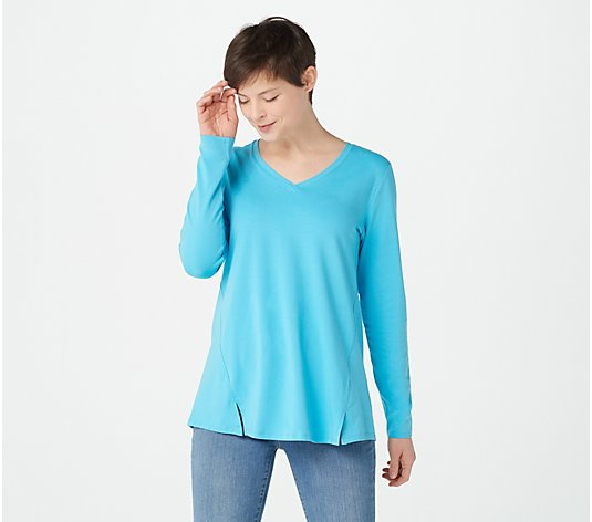 Isaac Mizrahi Live! V-Neck Forward Seam Knit Top