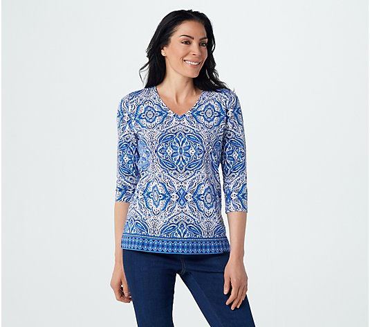 Belle by Kim Gravel Printed V-Neck Top