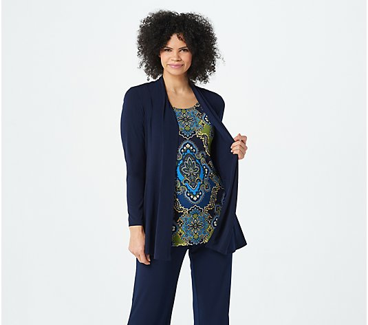 Susan Graver Liquid Knit Cardigan & Printed Tank Set
