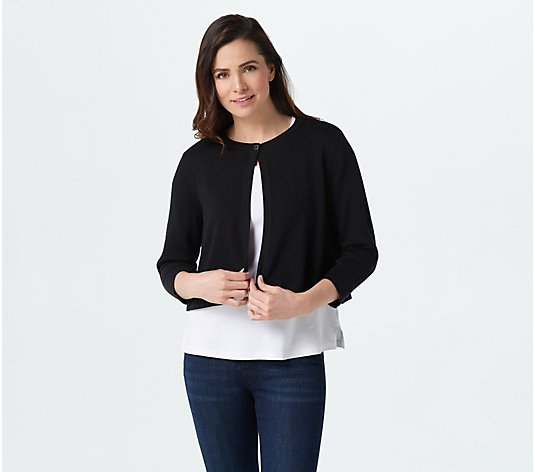 Isaac Mizrahi Live! Cropped One-Button Cardigan