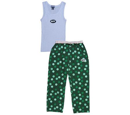 NFL New York Jets Women s Confetti Dot Pajama Set — QVC.com c4117a90ec