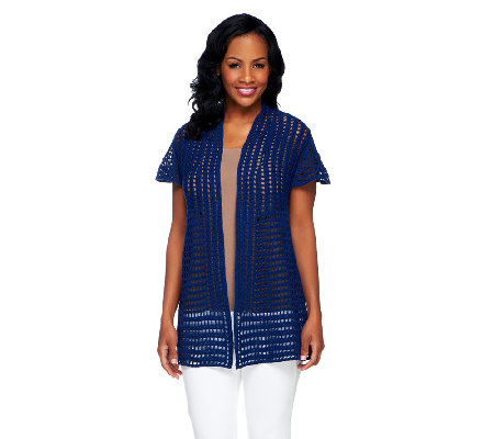 Attitudes by Renee Hand Crochet Cap Sleeve Cardigan