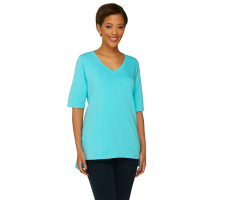Denim & Co. Perfect Jersey Elbow Sleeve Top with High-low Hem