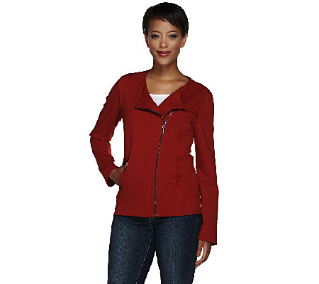 Susan Graver Weekend Zip Front Motorcycle Jacket