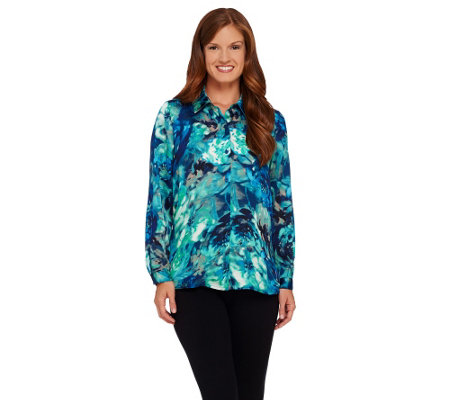 Susan Graver Printed Charmeuse Long Sleeve Button Front Shirt