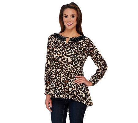 Susan Graver Artisan Printed Feather Weave Embellished Tunic