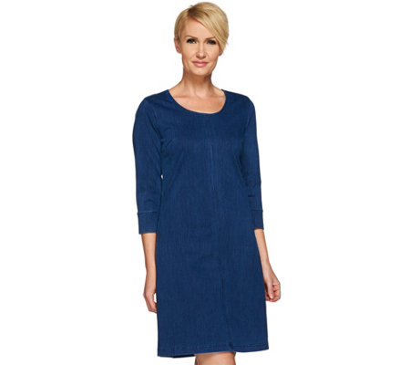 Liz Claiborne New York Knit Denim 3/4 Sleeve Dress