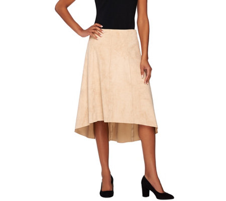 H by Halston Faux Suede Gored Skirt with Hi-Low Hem