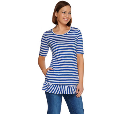 LOGO by Lori Goldstein Short Sleeve Stripe Top with Ruffle Hem