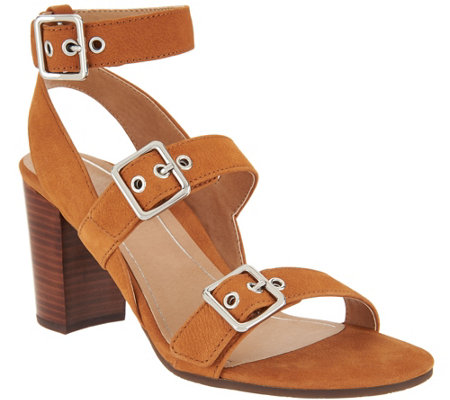 Vionic Orthotic Block-Heel Leather Sandals - Carmel