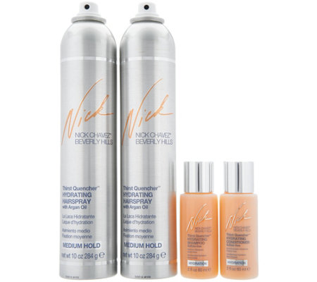 Nick Chavez Thirst Quencher Hairspray Duo w/Travel Shampo & Conditioner