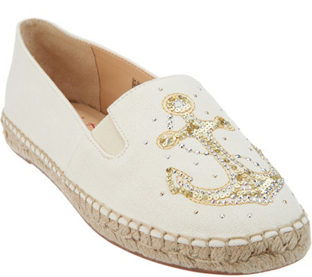 Quacker Factory Embroidered & Sequin Motif Slip-on Espadrilles