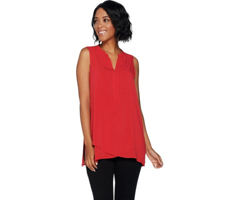 Susan Graver Stretch Woven Sleeveless Tunic with Crossover Hem