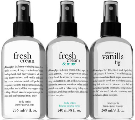philosophy refreshing 8 oz body spritz trio