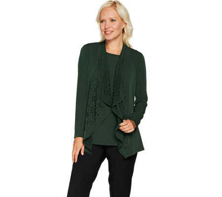 Susan Graver Liquid Knit Cardigan Set with Laser Cut Detail