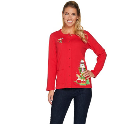 """As Is"" Quacker Factory Holiday Fun Long Sleeve Button Front Cardigan"