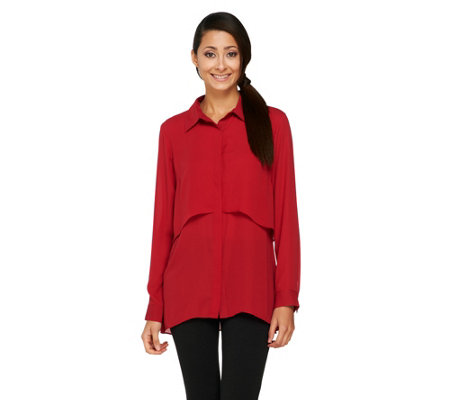 """As Is"" Joan Rivers Button Front Layered Blouse"