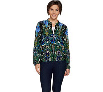 Attitudes by Renee Zip Front Solid or Printed Bomber Jacket - A296820