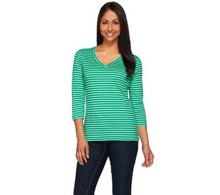 """As Is"" Isaac Mizrahi Live! Essentials Striped V-Neck Knit T-Shirt"