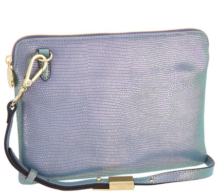 G.I.L.I. Leather Iridescent Crossbody Pouch Handbag
