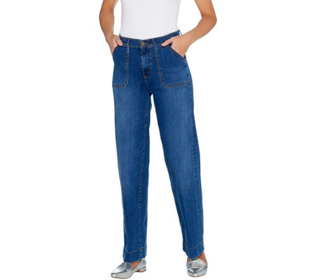 Isaac Mizrahi Live! TRUE DENIM Regular Wide Leg Cargo Jeans