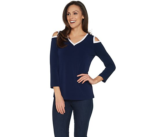 Susan Graver Liquid Knit Cold Shoulder Top