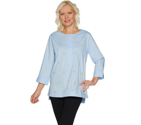 Martha Stewart Faux Pearl Embellished Stretch Poplin Tunic