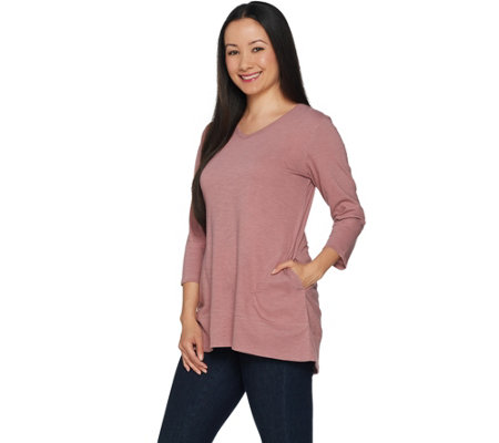 """As Is"" LOGO by Lori Goldstein Slub Knit V-Neck Top w/ Rib Trim Detail"