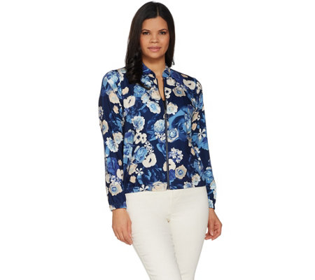 Studio by Denim & Co. Floral Print Zip-Front Bomber Jacket