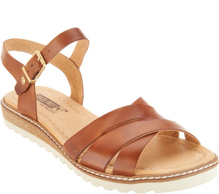 Pikolinos Leather Ankle Strap Sandals Alcudia Qvc Com