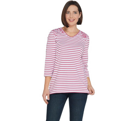 Denim & Co. Perfect Jersey Paisley and Stripe V-Neck 3/4-Sleeve Top